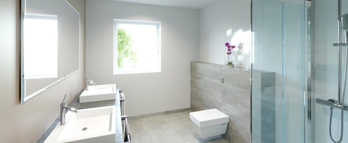Foto einer 3D Innenraum-Visualisierung des Bedes mit Dusche, WC und Waschbecken