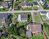 Luftaufnahme eines Grundstückes als Basis für die 3D-Visualisierung der zu bauenden Wohnimmobilien
