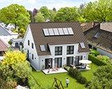 Nahaufnahme der Hinterseite einer 3D-Visualisierung eines Doppelhauses mit Terrassen und Gärten