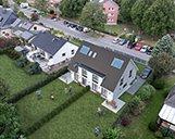 Foto einer 3D Visualisierung einer Wohnimmobilie mit Garten