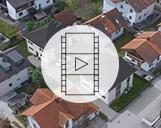 Drohnenvideo einer Visualisierung zweier Einfamilienhäuser und des Wohnviertels