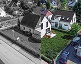 Luftbild der Kombination aus dem Basisbild für die 3D-Visualisierung und der fertigen 3D-Visualisierung