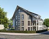 Foto einer 3D Visualisierung von einem Mehrfamilienhaus