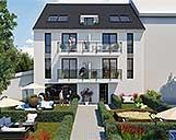 Foto der Frontansicht einer 3D Visualisierung einer Wohnimmobilie mit Garten