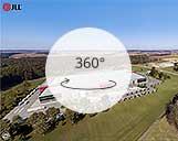 360° Panorama eines Logistikobjekts mit umliegenden Wäldern und Feldern