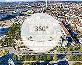 360° Panorama einer Wohnanlage mit umliegenden Wohnsiedlungen und Straßen
