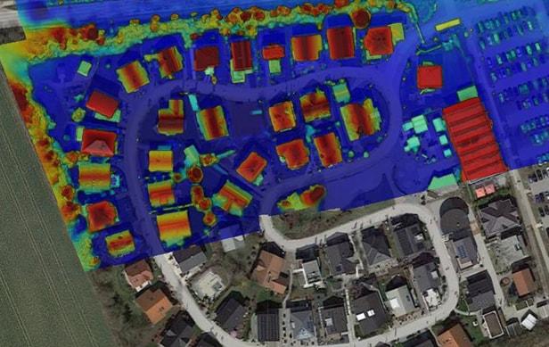Ein Oberflächenmodell einer Wohnsiedlung aus dem Landkreis München dargestellt auf einer Karte.