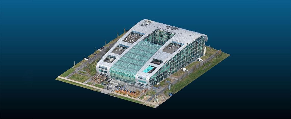 Ein großes Luxushotel dargestellt als 3D Punktwolke in einem 3D-Viewer.