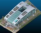 Das 3D Meshmodell von einem Hotel in einem Viewer.