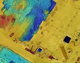 Eine Baustelle in München als digitales Oberflächenmodell (DOM) auf Basis von Drohnenaufnahmen.