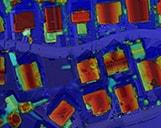 Digitales Oberflächenmodell einer Wohnsiedlung in Poing als Luftaufnahme.