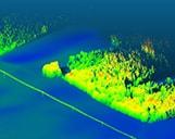 Veranschaulichung eines Waldes von oben mit der 3D-LiDAR Laserscanning Mehtode.