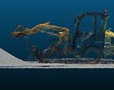 Pointcloud von einem gelben Bagger auf einer Baustelle dargestellt im 3D-Viewer.
