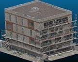 Ein mehrstöckiges Gebäude in der Bauphase als 3D Punktwolke in einem 3D Viewer von schräg oben.