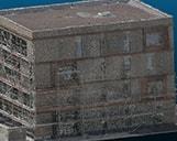 Detailansicht eines Gebäudeabschnitts im Bau als 3D Punktwolke von oben im 3D Viewer.