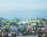 Luftbild des Nestlé Nespresso Gebäudekomplexes mit Blick auf den Genfersee