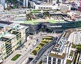 Luftaufnahme des Einkaufszentrums Skyline Plaza in Frankfurt am Main