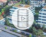 Drohnenvideo des Nespresso Gebäudekomplexes in Lausanne aus verschiedenen Perspektiven