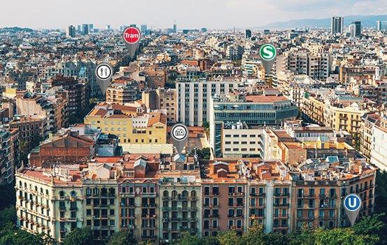 Luftaufnahme von Mehrfamilienhäusern in einem Stadtviertel einer großen Stadt
